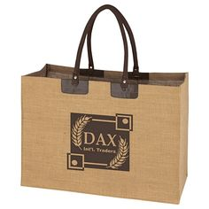 Promotional Padded Handle Jumbo Jute Tote Bag Item #HT-3620 (Min Qty: 50). Customize your Promotional Eco-Friendly Tote Bags with your company logo and with no setup fees.