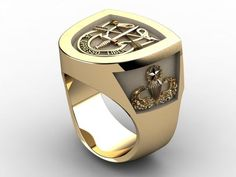 Custom Made Special Forces Insignia Ring In Yellow Gold Mens Gold Rings, Rings For Men, Mens Cross Bracelet, Green Beret, Signet Ring, Special Forces, Cute Gifts, Band Rings, Extraordinary Gentlemen