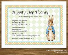 DIY Peter Rabbit Baby Shower Invitation, printable digital file. $12.00, via Etsy.