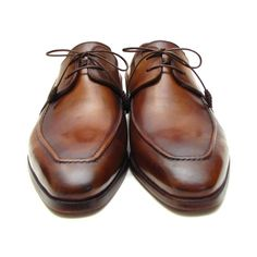 Derby style dress shoes for men Brown handpainted calfskin upper Natural leather sole Bordeaux leather lining and inner sole Leather wrapped laces This is a made-to-order product. Please allow 15 days for the delivery. Because our products are hand-painted and couture-level creations, each item will have a unique hue and polish, and color may differ slightly from the picture. Color: As Per Description Material: Calfskin Item Fit / Dimensions: As per size guide Made In: United States Shipped From Comfortable Mens Dress Shoes, Mens Casual Dress Shoes, Mens Dress Outfits, Mens Fashion Shoes, Trendy Shoes, Men Dress, Men's Fashion, Branded Shoes For Men, Best Shoes For Men