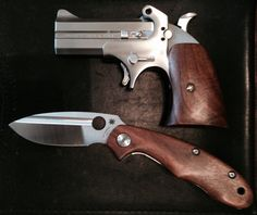 Todd Korup (The Uker of OZ) custom Bond Arms grips and Spyderco Tuff in black walnut. Just awesome work!!!