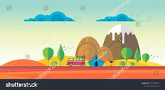 Beautiful vector autumn abstract landscape with wildcamp and tent Abstract Landscape, Tent, Beautiful, Images, Store, Tentsile Tent, Tents