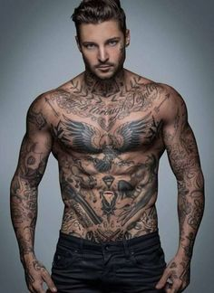 Full Body Tattoo Design In 2020 top 5 Most Popular Masculine Tattoo Designs for Men Tattoos Masculinas, Body Art Tattoos, Sleeve Tattoos, Mens Tattoos Chest, Chest Tattoos For Guys, Best Tattoos For Men, Mens Body Tattoos, Full Chest Tattoos, Hals Tattoo Mann