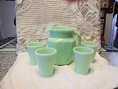 Jadeite 5 Piece Juice Set