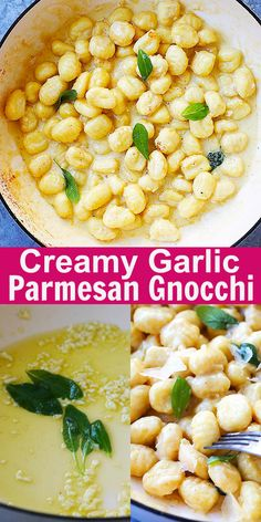 Creamy Garlic Parmesan Gnocchi - easy gnocchi recipe that takes 15 mins to make, with crazy delicious cream sauce. Pasta Recipes, Dinner Recipes, Cooking Recipes, Recipes With Gnocchi, Endive Recipes, Radish Recipes, Gnocchi Pasta, Pasta Carbonara, Potato Gnocchi Recipe
