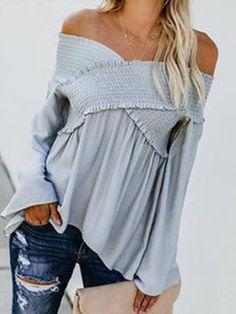 Damen V-Neck Longshirt Bell Sleeve Langarm Bluse Trompete Ärmel Tops Shirt Boho