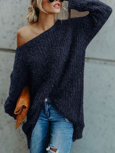 Blue One Shoulder Long Sleeves Loose Sweaters