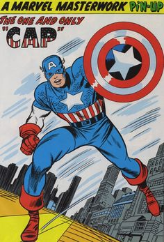 Marvel Masterwork PinUps, Captain America by Jack Kirby Marvel Comics, Arte Dc Comics, Marvel Comic Books, Comic Book Heroes, Marvel Characters, Comic Books Art, Marvel Heroes, Steve Rogers, Captain America Comic