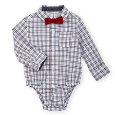 "Koala Baby Boys Blue/Red Plaid Long Sleeve Button Down Collared Bodysuit with Bow Tie - Babies R Us - Babies ""R"" Us"