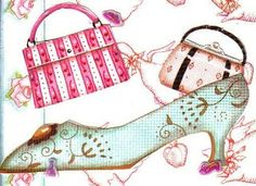 Laminas decoupage: LAMINAS TILDA - purses and shoe - accesories are a girl's best friend
