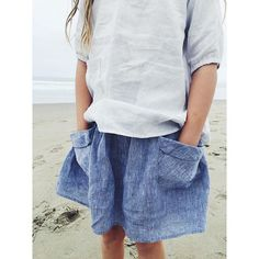 Gemma dress in grey pinstripe (worn small as a tunic top) and Frances Skirt in washed indigo linen