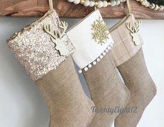 Christmas Stockings Set of 3 Stockings Christmas Stockings Burlap Christmas Stockings, Burlap Stockings, Christmas Stocking Pattern, Christmas Swags, Etsy Christmas, Christmas Sewing, Plaid Christmas, Simple Christmas, Christmas Crafts