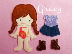 Felt Doll Gracy Non Paper Doll Doll with outfit by ChameleonGirls