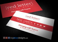 Red Letter Social Media business card design