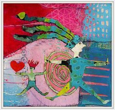 "Elke Trittel ""catch my <3 "" acrylic,collages on ..."