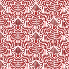 Red Nouveau Swirls on White fabric by whimzwhirled on Spoonflower - custom fabric