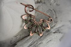 Shawl pin Copper and peridot scarf pin brooch wire wrapped shawl pin (29.00 USD) by Keepandcherish