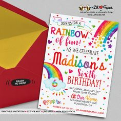 Rainbow Birthday Invitation - Printable DIY Invitation - Personalized Invite card DIY party printables will save you time and money while making your planning a snap!