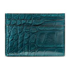 Gucci crocodile card case ($495) ❤ liked on Polyvore featuring bags, wallets, precious skins, teal, credit card holder wallet, card holder wallet, croco wallet, blue bag and gucci wallet