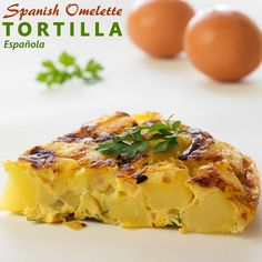 This traditional Spanish Omelette is made from eggs and potatoes. Some add onion or some more ingredients such as chorizo, tuna or vegetables.