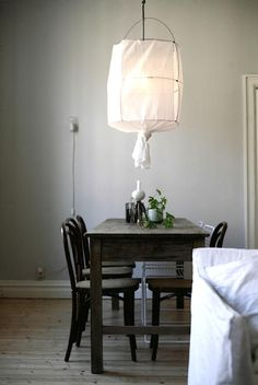An oversized pendant Koushi lamp made from fabric