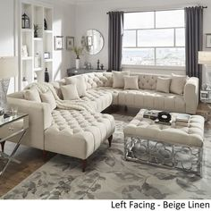 Shop Danise Tufted Linen Upholstered Tuxedo Arm U-Shaped Sectional with Chaise by iNSPIRE Q Artisan Living Room Sectional, Living Room Sofa, Living Room Decor, Sectional Sofas, Small Sectional, Sofa Design, Furniture Design, Interior Design, Design Design