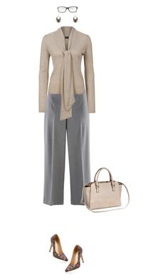 Office outfit: Beige - Gray by downtownblues on Polyvore #officewear  #culottes  #floralprint