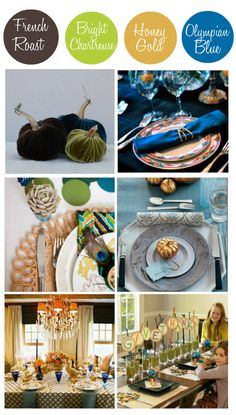 #Thanksgiving tablescapes in dark brown, chartreuse, mustard and blue look chic, fresh, and fabulous! http://blog.homes.com/2012/10/thanksgiving-color-trends-2012/#