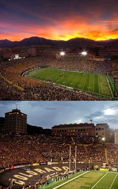 University of Colorado at Boulder Buffaloes - 2 views of Folsom Field - dusk and night