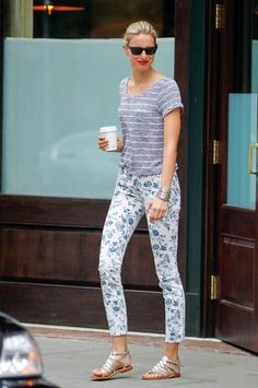 Karolina Kurkova in Floral Skinnies & Striped Top : Two Patterns Together