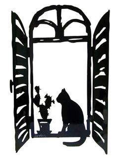 Sculpture by David Gerstein- Window with Cat and Moon