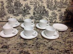 Vintage Arcopal France Pure White Glass Espresso Demitasse Cup Sets (6 sets)