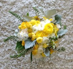 Yellow, White, and Green Bridal Bouquet