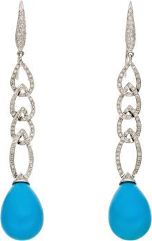 Diamond, Turquoise, White Gold Earrings. Each earring features full-cut diamonds, suspending a teardrop-shaped turquoise