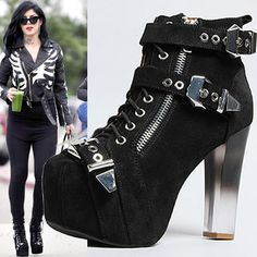 Kat Von D Rocks Another Crazy-Cool Jeffrey Campbell from Her Rad Shoe Collection I have copies of these (minus buckles, Perspex ghost grey to clear heel is sexy as fuck. shoe fetish hardcore have issues. Sock Shoes, Cute Shoes, Me Too Shoes, Kat Von D, Dream Shoes, Crazy Shoes, Bootie Boots, Shoe Boots, Gothic Shoes