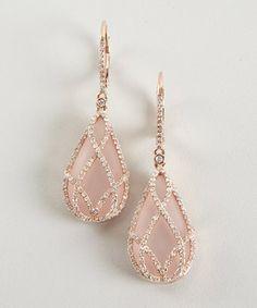 rose quartz and diamond drop earrings