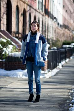 OBSESSED with this look, especially the perfect Isabel Marant coat, on Annina Mislin at #NYFW.  twentiescollective.com