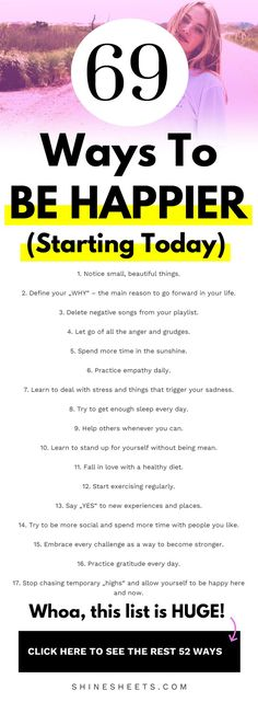 69 ways to be happier starting today want to know how to be happy take this 30 day happiness challenge! Pretending To Be Happy, Trying To Be Happy, Just Be Happy, The Happy Life, Being Happy Alone, Happy Life Tips, How To Be A Happy Person, Happy Art, How To Become Happy