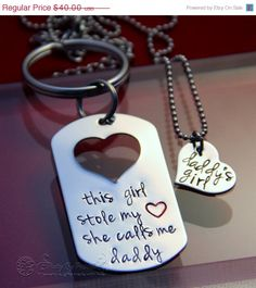 Fathers Day Gift for Dad Keychain - Stole My Heart Daddys Girl -Hand Stamped Stainless Steel Dog Tag key ring & Heart Name Necklaces