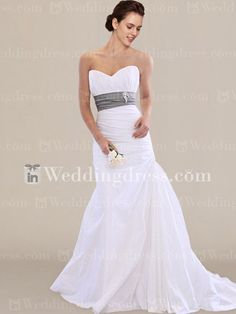 Modest wedding dress features in Taffeta. Strapless bodice accents a great sweetheart neckline.
