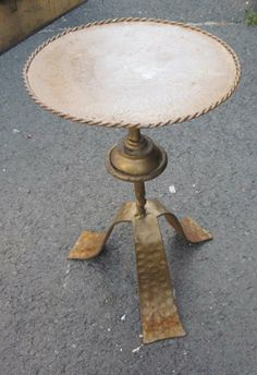 Small Ornate Metal Legs : 1960s Spanish gold gild metal small cocktail table with decorative ...