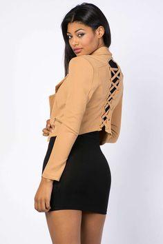 Cropped Lace Back Blazer