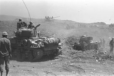 Israeli tanks advancing on the Golan Heights during the Six-Day War, June 10, 1967.