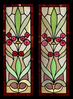THE VERY BEST ART NOUVEAU RONDEL STAINED GLASS SIDELIGHTS