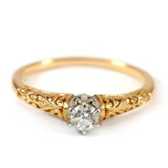 Diamond Engagement Ring in 18K Gold Ring with Round by Spoonier, $315.00