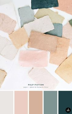a handmade-paper-inspired color palette — Akula Kreative deco color palette interiors a handmade-paper-inspired color palette — Creative brands for creative people // Akula Kreative Make A Color Palette, Pastel Colour Palette, Colour Pallette, Colour Schemes, Color Combos, Pastel Colors, Modern Color Palette, Palette Design, Vintage Colour Palette