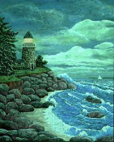 Jerrys Lighthouse Painting  - Jerrys Lighthouse Fine Art Print $4.95