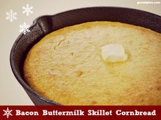 Bacon Buttermilk Skillet Cornbread - Get a sample of life in the wilderness including a recipe for bacon buttermilk skillet cornbread. Bacon Cornbread, Skillet Cornbread, Buttermilk Cornbread, Dutch Oven Cooking, Cast Iron Cooking, Skillet Cooking, Whole Food Recipes, Bread Recipes, Deserts