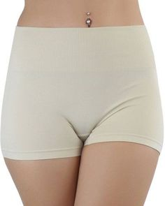 fd8776e4d2d ToBeInStyle Nylon Ribbed Pull-On High-Rise Mini Slimming Shorts Fold-Over  Waist - Beige - One Size at Amazon Women s Clothing store