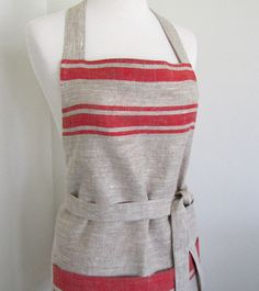 Chef Apron-Natural Baltic Red Sripe Linen, via Etsy Restaurant Uniforms, Chef Apron, Linen Apron, White Dogs, Home Textile, Aprons, Color Combinations, Sewing Projects, Uniform Ideas